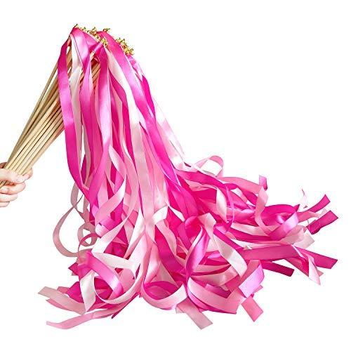 Hangnuo 30Stück Band Zauberstäbe mit Glockenduft Streamer Feenstab Wünsche für Hochzeit Urlaub Party Feier rose