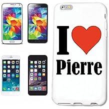 """cubierta del teléfono inteligente Samsung Galaxy S6 """"I Love Pierre"""" Cubierta elegante de la cubierta del caso de Shell duro de protección para el teléfono celular Samsung Galaxy S6 … en blanco ... delgado y hermoso, ese es nuestro hardcase. El caso se fija con un clic en su teléfono inteligente"""