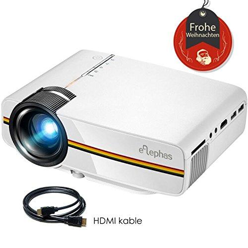 Beamer, ELEPHAS LED Mini Beamer unterstützt 1080P HD für HDMI / VGA / AV / USB / SD für TV PC Laptop Kopfhörer iphone Filme und Video Spiele, Weiß
