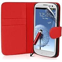 Supergets Hülle für Samsung Galaxy S3 Buch-Stil Imitat Ledertasche Hülle in Rot, Folie für S3, Eingabestift