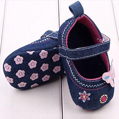 Ularma nouveau-nés chaussures de bébé de la mode papillon doux semelle chaussures tout-petits (2, violet) bleu
