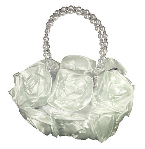 Samtlebe® - Blütenbeutel Kommunionbeutel Tasche für Kommunion und Blumenmädchen FF001 in Cremeweiß