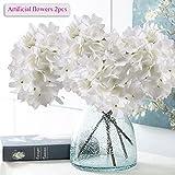 Künstliche Blumen, Meiwo 2 Pcs Real Touch Latex Künstliche Hydrangea Seide Blumen in Vasen für Hochzeit Dekor / Home Dekor / Party / Graves Arrangement(Weiß)