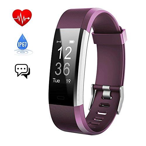 Pulsera Actividad,Monitor de Frecuencia Cardiáco, Pulsera Reloj Inteligente con Pulsómetro Impermeable IP67, Bluetooth 4.0, Podómetro, Notificación de SMS, Monitor de Ritmo Cardíaco,Monitor de Sueño, GPS, Control Remoto de Móvil para iOS 7.0 o Superior y Android 4.4 Teléfono móvil hombre mujer niños(Púrpura) - iPosible