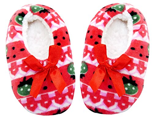 Neska Moda Premium Kids Soft Red Cotton Fur Winter Indoor Slippers Cum Booties-14 CM Length For Age Group 3 - 15 Month Old