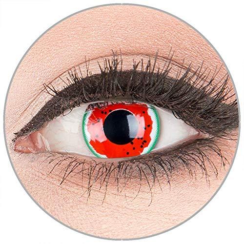 Volturi Kostüm Billig - Farbige Kontaktlinsen zu Fasching Karneval Halloween in Topqualität von 'Glamlens' ohne Stärke 1 Paar Crazy Fun rote grüne'Melon Colic' mit Behälter