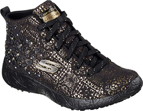 Skechers Burst Seeing Stars High Top Femmes Toile Baskets Black Gold