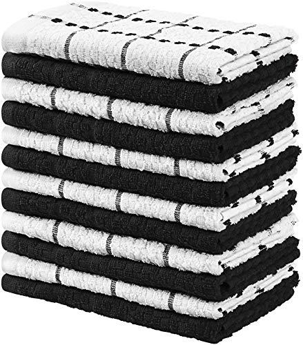 Utopia towels - 12 strofinacci da cucina - lavabili in lavatrice (38 x 64 cm) (nero e bianco)
