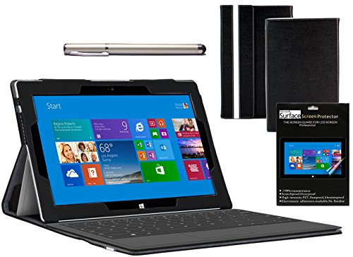 Navitech Oberfläche Serie Fall, Schwarz (Bundle Pack), Microsoft Surface 2