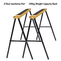 Costway 2 x 780MM 125KG Trestle Saw Horse Steel Stand Non Slip Folding Carpenter Builder Yellow