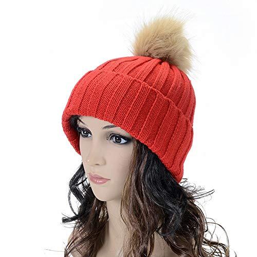 Rote Damen Candy Kappe (SED Frauen Hut-Herbst Winter Damen Einfarbig Nachahmung Hängenden Ball Curling Ohrenschützer Hut Stricken Candy Farbe Linie Kappe Warm Zu Halten,rot,Kinder)