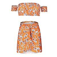 Floral Print Beach Outfit Crop Top And Mini Skirt Set Boho Womens Casual Suits