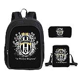 TREES Kinder Schulrucksack Set 3 Stück Juventus-Muster Lässiger Daypack Umhängetasche Mäppchen...