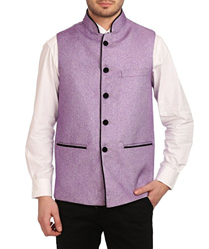 Wintage Men's Rayon Bandhgala Festive Nehru Jacket Waistcoat Purple, Medium