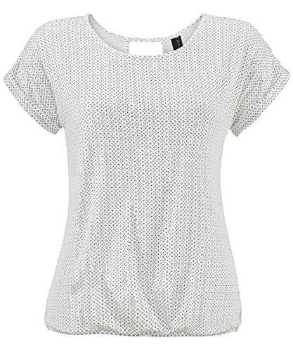 Weiße Baumwolle Blusen (TrendiMax Damen T-Shirt Kurzarm Sommer Shirt mit Allover-Minimal Print Causal Oberteil Bluse Tops (Weiß, M))