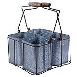 GoCraft Rustic Galvanized Tin Caddy with 4 Pots, Multipurpose Planter Silverware Utensil Carry-All Organizer