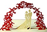 Pu03, Stilvolle 3D Pop Up Karte mit Umschlag zur Hochzeit, filigranes Kunstwerk als Hochzeitskarte, als Glückwunschkarte oder zur Einladung als Einladungskarte, Grußkarte, Glückwunschkarte