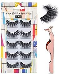 Professional 5 Pack Faux 3D Mink Eyelashes Thick Long Multilayer Fluffy False Eyelashes With Free Precision Eyelashes Clip (5 pairs)