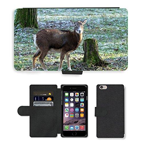 Just Mobile pour Hot Style Téléphone portable étui portefeuille en cuir PU avec fente pour carte//m00138987Capricorne Animaux Sauvages femelle//Apple iPhone 6Plus 14cm