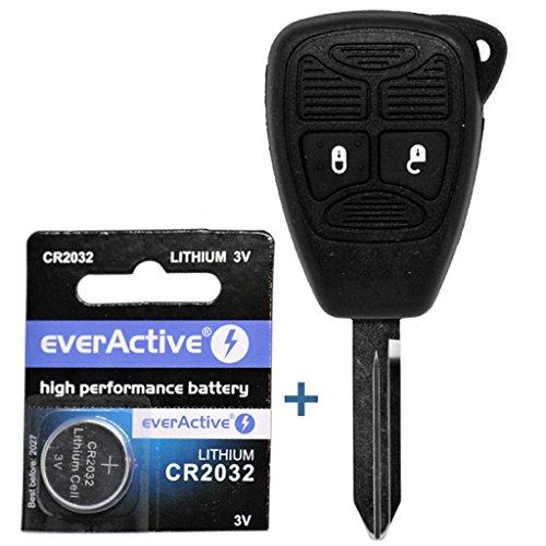Auto Schlüssel Funk Fernbedienung 1x Gehäuse 2 Tasten 1x Rohling 1x CR2032 Batterie für Chrysler/Jeep Dodge