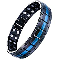 Jeracol Mens Magnetic Therapy Bracelet Double Strong Magnet Blue&Black Health Link for Arthritis Pain Relief with Remove Tool