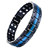 Jeracol Mens Magnetic Therapy Bracelet Double Strong Magnet Blue&Black Health Link for Arthritis