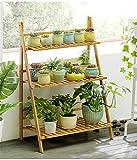 Blumentreppe aus Bambus, Blumenständer 3-stufig, Leiterregal, Klappbar, für Indoor Outdoor Home Patio Rasen Garten Balkon Halter,70cmwide