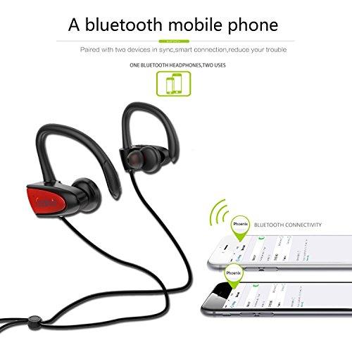 SGIN Auriculares Bluetooth  Inalámbricos Bluetooth V4.2 Deportivos In ear a prueba de sudor Auriculares  cancelación de ruido con micrófono Estéreo para iPhone  iPad  Android Smartphones(rojo)   Fozento