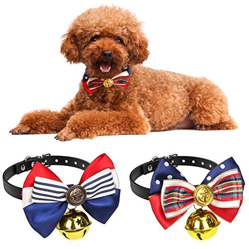Pawaboo Hundehalsband mit Bell, [2Stück] Einstellbar Haustier Hunde Halsband halskette Weihnachten Fliege Schleife Glocken Halskrause Hundefliege Halsschleife für Welpen Katze, Grid & Streifen, Für 27cm - 34cm (Grid-streifen)