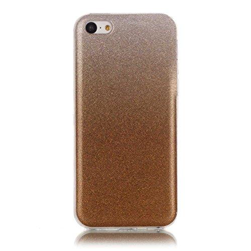 iPhone 5C Case,iPhone 5C Hülle - Felfy Apple iPhone 5C Ultra Slim Ultradünn Case Soft Gel Flexibel TPU Silikonhülle mit Bling Sternchen Gradient Farbe Design Protective Scratch Resistant Bumper Case B Golden Case