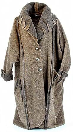 charleselie94 manteau long femme laine bouillie hiver grande taille beige melodia. Black Bedroom Furniture Sets. Home Design Ideas