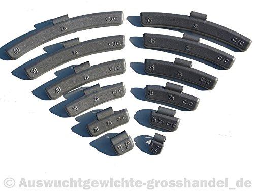 5-30g 300x Schlaggewichte Auswuchtgewichte Wuchtgewichte Sortiment für ALUfelgen 300 Stück (je 50 von 5g, 10g, 15g, 20g, 25g und 30g)