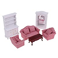 Sharplace Luxury 1/12 Dolls House Miniature Furniture Kit Sofa Cushions End Table Display Cabinet Bookshelf Suit
