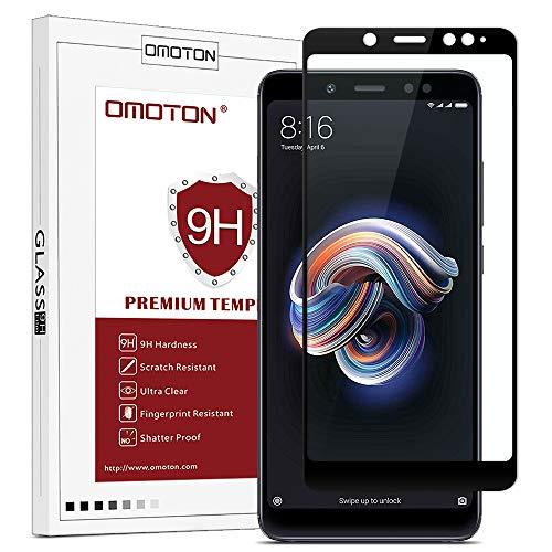 OMOTON Panzerglas Schutzfolie für Xiaomi Redmi Note 5, volle Bedeckung, Anti- Kratzer, Bläschenfrei, 9H Härte, HD-Klar, [3D R&e Kante] (5,99 Zoll)-Schwarz