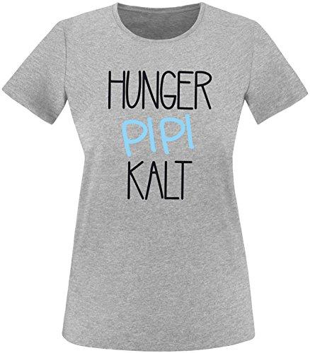 Luckja Hunger Pipi Kalt Damen Rundhals T-Shirt Grau/Schwarz/Hellbl