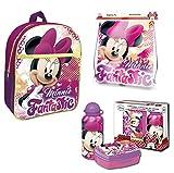 Disney Minnie Maus Rucksack Set 4tlg. mit Turnbeutel, Dose und Alu-Trinkflasche z.B. für den Kindergarten