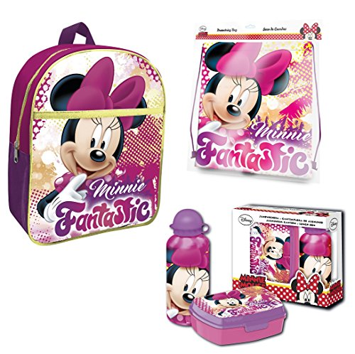 Disney Minnie Maus Rucksack Set 4tlg. mit Turnbeutel, Dose und Alu-Trinkflasche z.B. für den - Aluminium-trinkflasche Disney