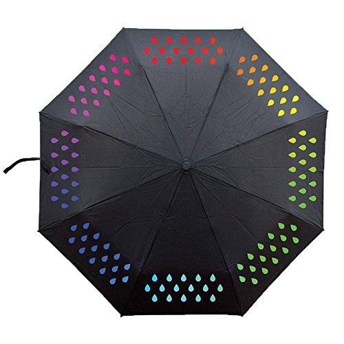 Ai-life ombrello che cambia colore, cambiano colore con la pioggia, pioggia portatile gocce di colore gradiente pieghevole viaggi ombrello