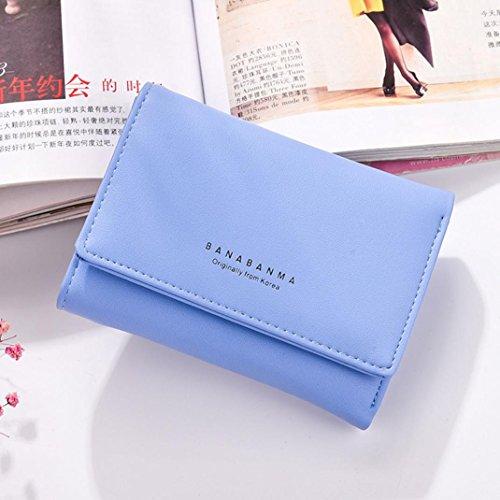 Portafoglio Donna, Tpulling Borsa della borsa della borsa della frizione della borsa del raccoglitore del cuoio delle donne (Purple) Blue