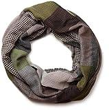styleBREAKER warmer Karo Muster Loop Schlauchschal mit Fransen, Unisex 01018037, Farbe:Grau-Schwarz-Grün