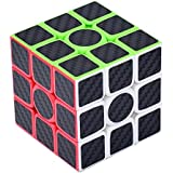 Ruisen Rompecabezas Cubo de fibra de carbono, Cubo magico, 3x3x3, Negro