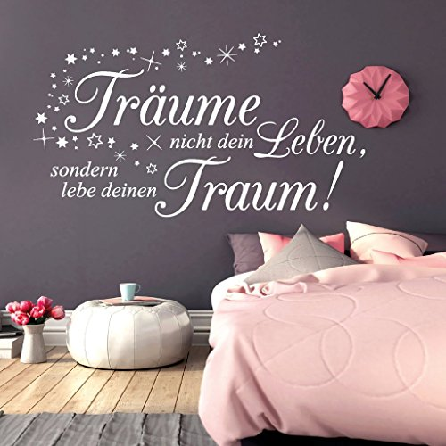 """Wandtattoo Loft """"Träume nicht dein Leben, sondern lebe deinen Traum!"""" mit Sternen / Zitat / Spruch / Weisheit / Wandsticker / Schlafzimmer / Wandtattoo / Wandaufkleber / 54 Farben / 3 Größen /"""