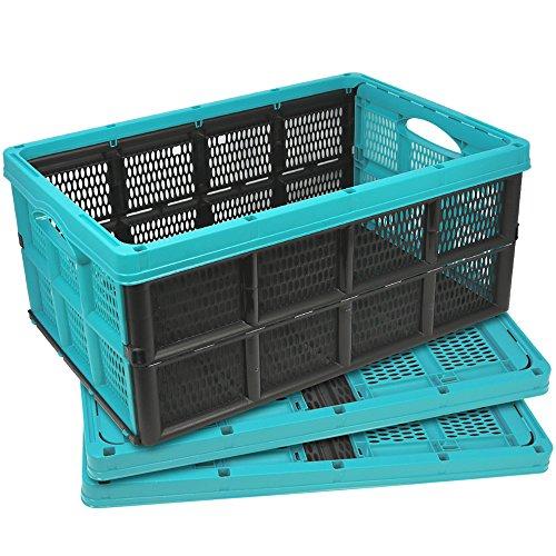 COM-FOUR® 3x Klappbox mit Griffmulden, in türkis, klappbarer Einkaufskorb, 32 Liter, 50,5 x 33,5 x 22 cm (03 Stück - türkis) (Kunststoff-klappbox)