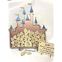 Fairy Castle 52 Cinderella Metallic Pink Rose Gold Blue Wedding drop box alternative guest book birthday Princess decoration anniversary birthday weddings