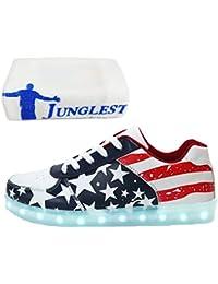 (Present:kleines Handtuch)Schwarz EU 35, und Schuhe Sportschuhe JUNGLEST® 7 Laufschuhe Sneaker Mode Kinder Farbe Damen Wechseln aufladen USB Leuchtend Herren mode für Freize