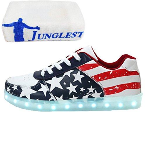 [Present:kleines Handtuch]JUNGLEST® Lackleder High-Top 7 Farbe LED Leuchtend Sport Schuhe Glow Sneakers USB Aufladen Turnschuhe für Unisex Herren Dam c42