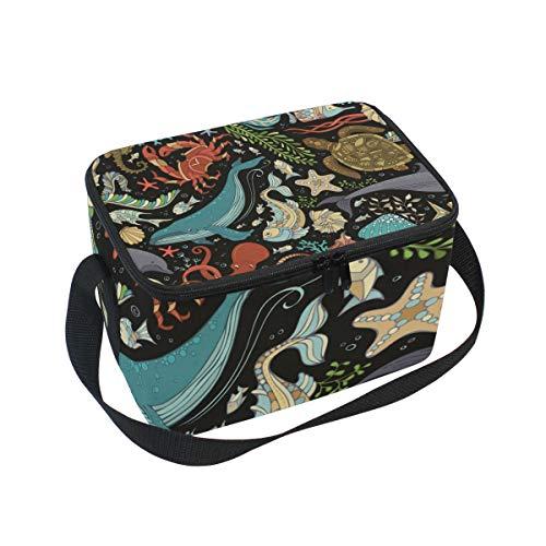 Lunchtasche Dolphin urtle Fisch Seestern Shell Quallen und Pflanzen Kühler für Picknick Schultergurt Lunchbox (Qualle Pflanze)