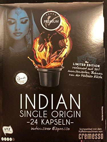 Kaffeekapsel für Cremesso & Delizio: 24x India - Single Origin - intensiver Espresso - Malabar Küste- MHD 30.04.2019