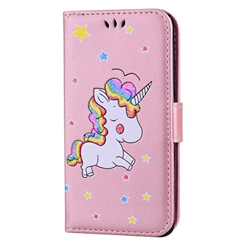 Ailisi Funda Samsung Galaxy J5 2016, [Unicornio] PU Leather Carcasa, Anti-rayones Wallet Flip Case Cover con Cierre Magnético (Oro Rosa)