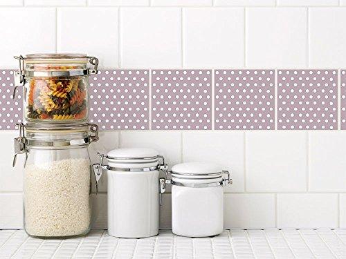 GRAZDesign 770245_10x10_FL30st Fliesenaufkleber Punkte in altrosa - lila | Fliesen zum Aufkleben im Badezimmer und Küche | Fliesenbilder - Klebefliesen bekleben | selbstklebende Folie | einfache Verklebung (10x10cm // Set 30 Stück)